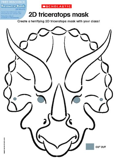 Invite children to make a ferocious 2D triceratops mask! Print the ...