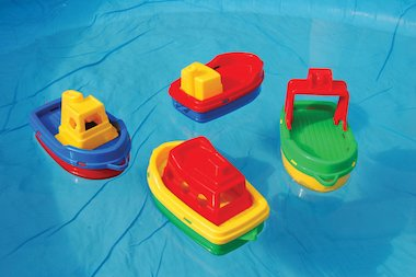 Toy boats floating on water