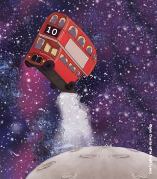 Illustration of a bus in space