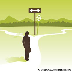 Graphic of woman at crossroads