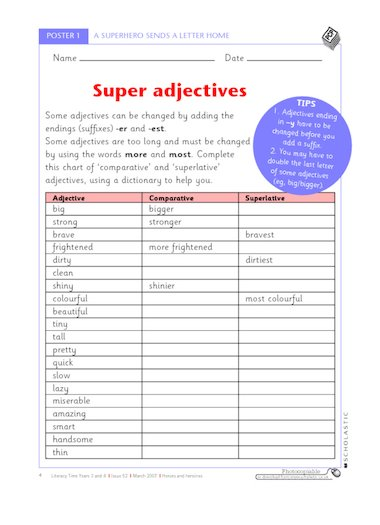 Super adjectives u2013 comparative and superlative adjectives ...