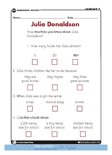 Julia Donaldson – FREE Primary KS1 teaching resource - Scholastic