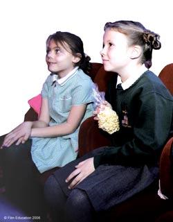 Children watching a film