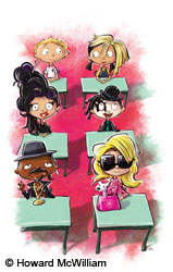 Illustration of classroom of children dressed as celebrities