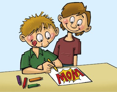 Cartoon of children drawing