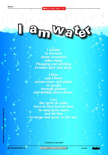 I Am Water Environmental Poem Primary Ks2 Teaching