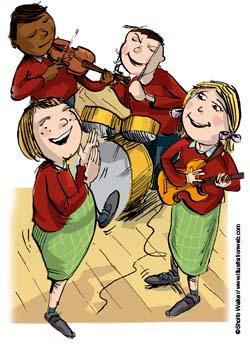 Illustration of children making music