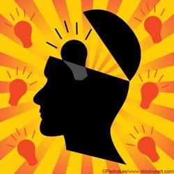 Graphic human head with lightbulbs around it