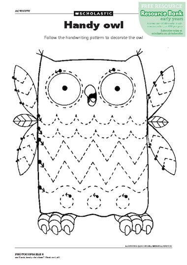 Follow the handwriting pattern to decorate the owl. Cut out the owl ...