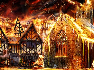 Illustration of the Great Fire of London © Paul Cheshire