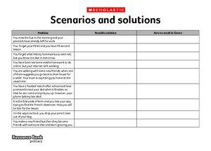 Scenarios and solutions
