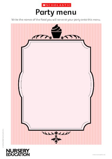 roman menu template - party menu early years teaching resource scholastic