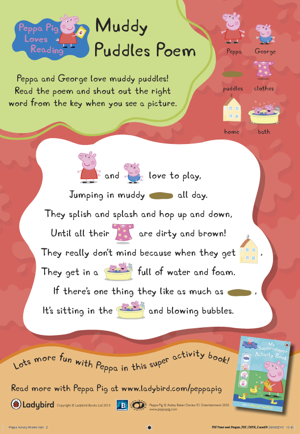 Peppa Pig Muddy Puddles Poem - Scholastic Kids' Club