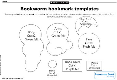 Make a bookworm bookmark templates free primary ks2 for Bookworm bookmark template