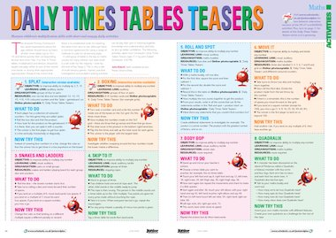 Daily times tables teasers - activities