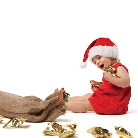 Little girl with a sack of gifts