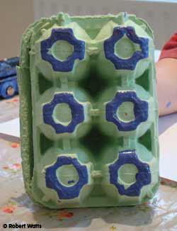 Inked-up egg box