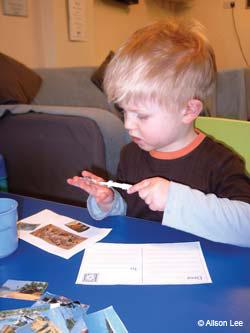 Child with gluestick