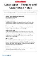 Landscapes - Planning and observation notes