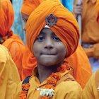 Sikh boy celebrating Baisakhi