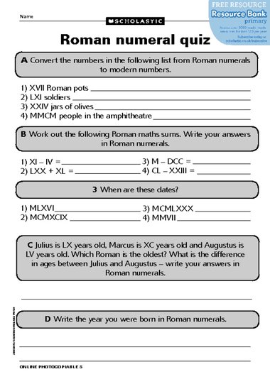 Free Worksheets roman numerals worksheet for grade 4 : Roman numeral quiz u2013 FREE Primary KS2 teaching resource ...