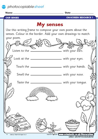 Which the children can use to compose their own poem about the senses