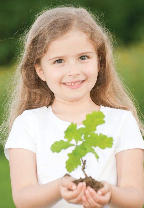 Girl with seedling