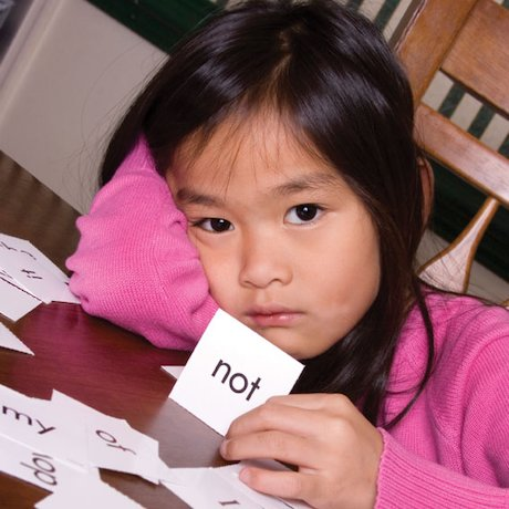 Girl with flashcards