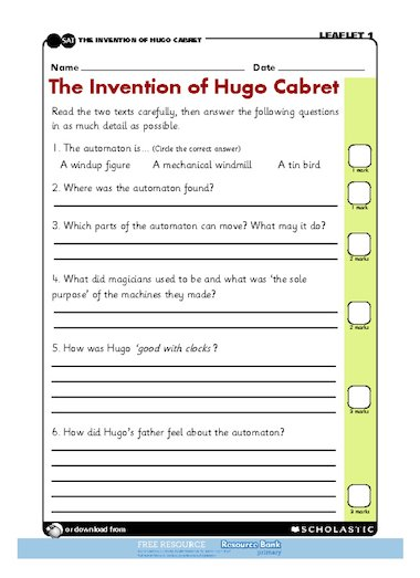 The Invention of Hugo Cabret u2013 comprehension u2013 FREE ...