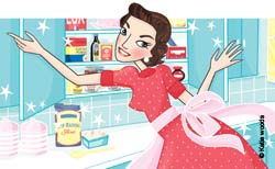 illustration of lady opening kitchen cupboard