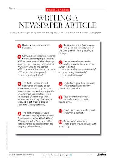 sudy in uk newspaper writing template