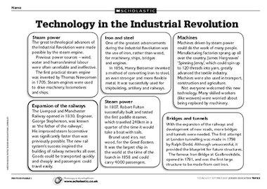 industrial revolution worksheets | fbopen