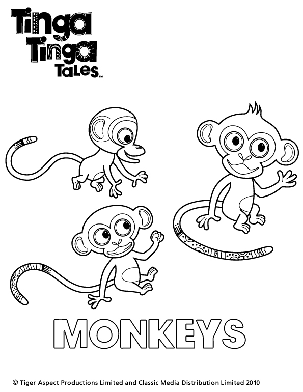 Tinga Tinga Monkey Colouring