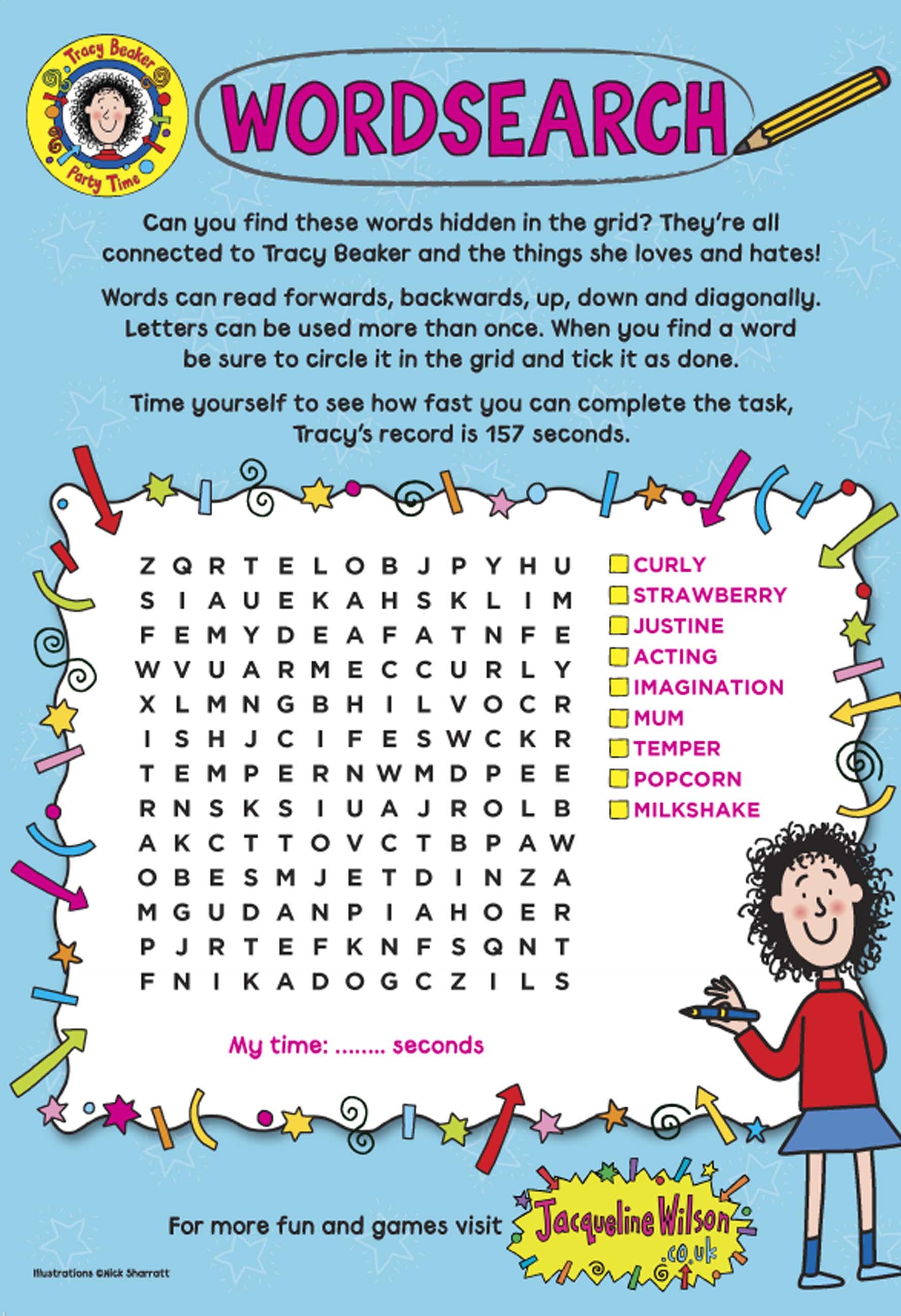 Tracy Beaker Wordsearch - Scholastic Kids' Club