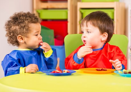 Nursery boys eating