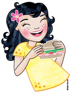 Illustration of a girl eating a sandwich