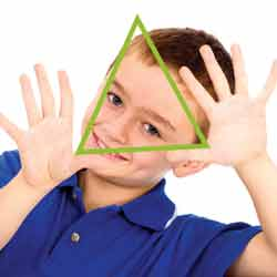 boy holding triangle