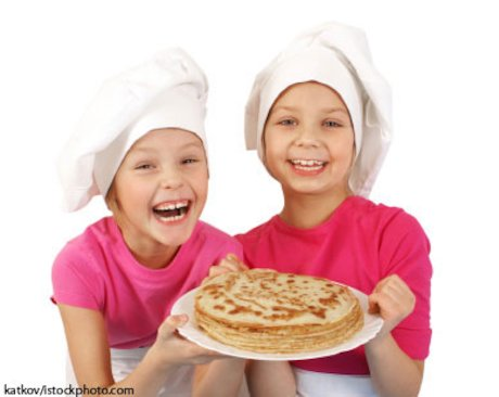 Girls with a plate of pancakes