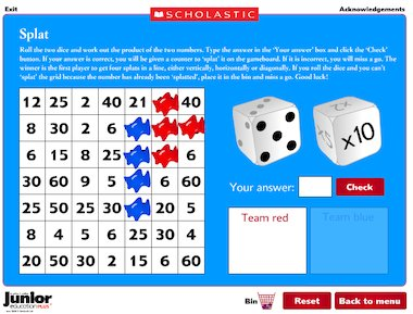 Daily times tables teasers - interactive games