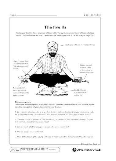 Sikhs wear the five Ks as a symbol of their faith – this activity ...