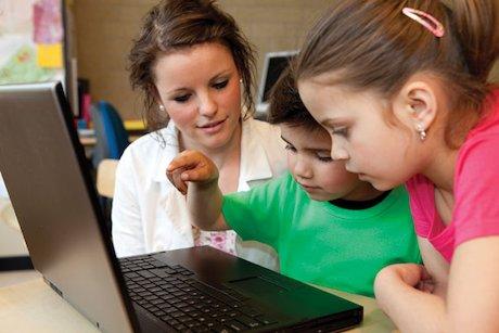 Children with  laptop