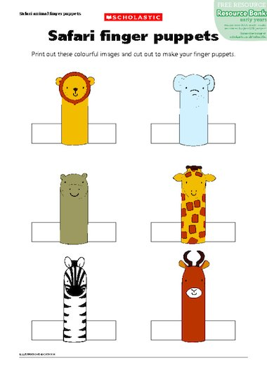 Punchy image in printable finger puppets
