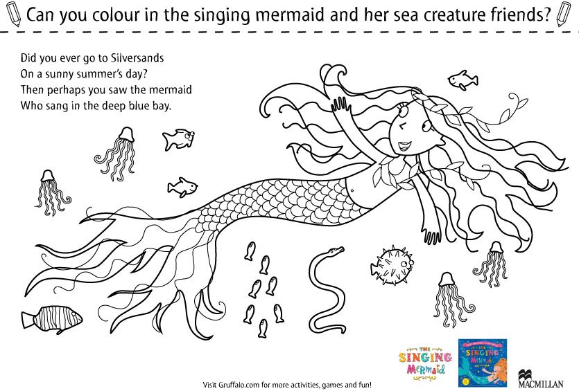 Singing Mermaid Colouring