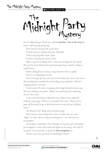 Midnight Party Mystery u2013 story u2013 FREE Primary KS1 teaching ...