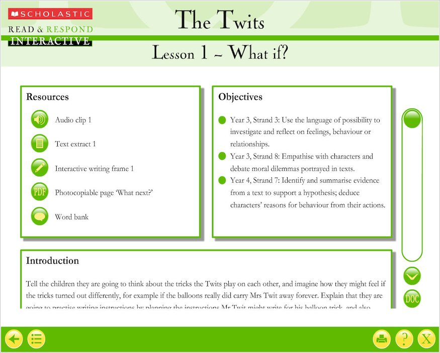 Read u0026 Respond Interactive: The Twits (Teacher Resource) - Scholastic Shop