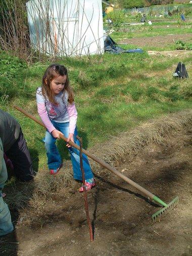 Child raking up