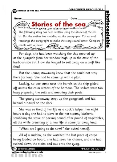 stories of the sea reordering paragraphs primary ks2 teaching resource scholastic. Black Bedroom Furniture Sets. Home Design Ideas