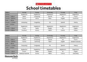 School timetables