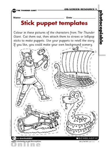 Use these pictures to make stick puppets of the characters, and retell ...