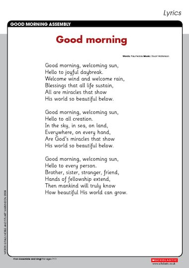 Lyrics for the 'Good morning' song to accompany the Good morning ...